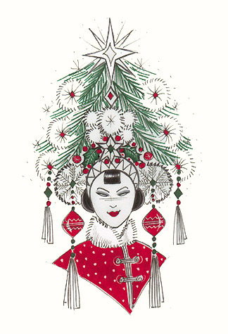 Chinese christmas tree woman a copyrighted greetings card image by