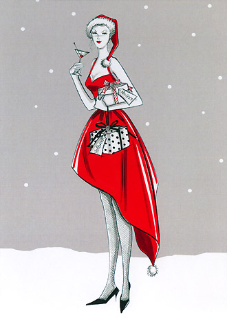 Woman in red dress with cocktail glass and presents 2010 christmas
