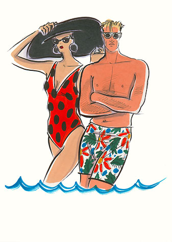Male sports and active wear: man and woman in swimwear and sunglasses